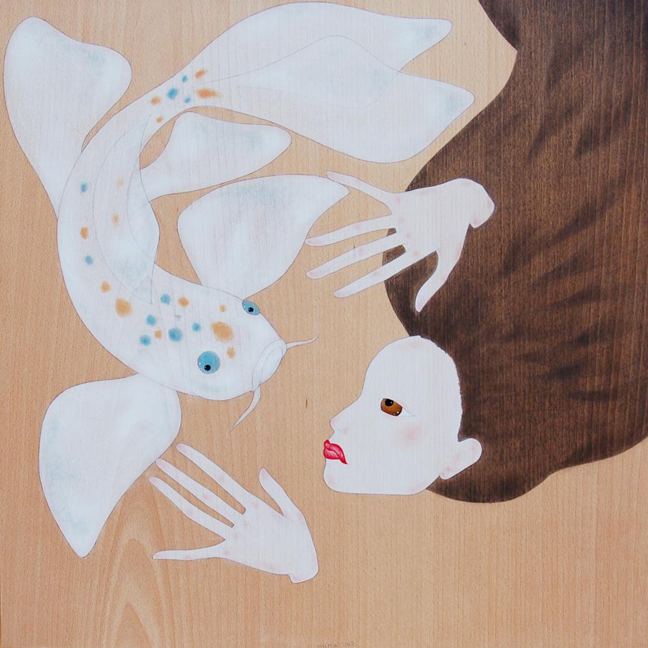 """maiko nedant amb el peix koi"""