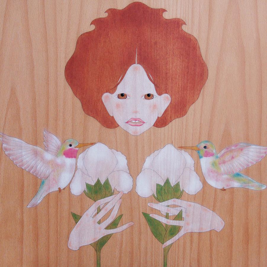 """noia, colibris i iris blanc"""