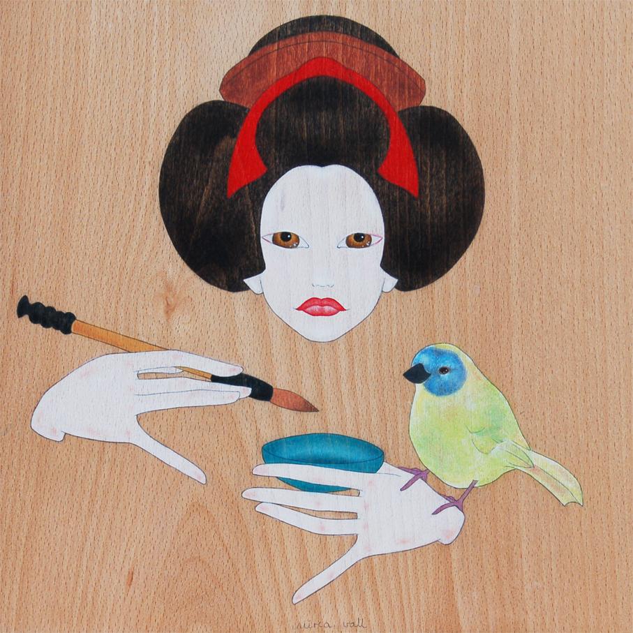 """geisha pintant sumi-e"""