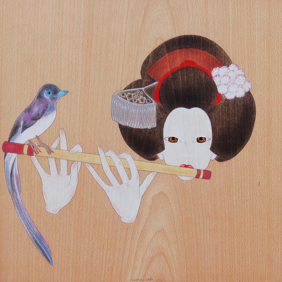 """maiko tocant la flauta japonesa"""
