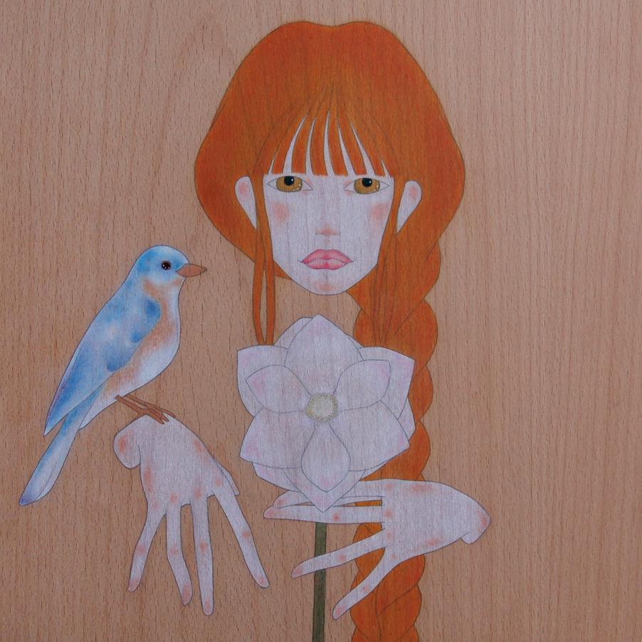 """noia, ocell blau i flor de magnòlia"""